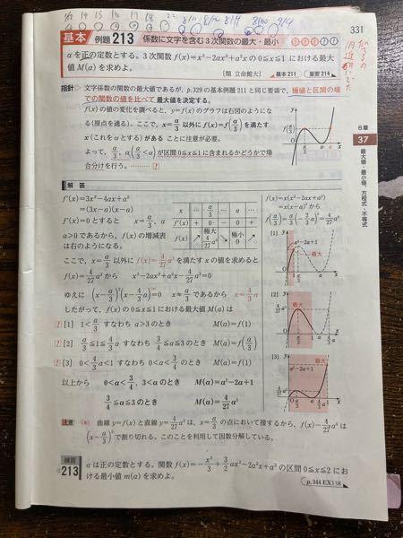 数学が得意な方に質問です! この問題の場合わけについて、なぜ場合わけしていくのか、a/3でのの場合わけについてなぜこうなるのかいまいちわからないのですが、解説していただけませんか?