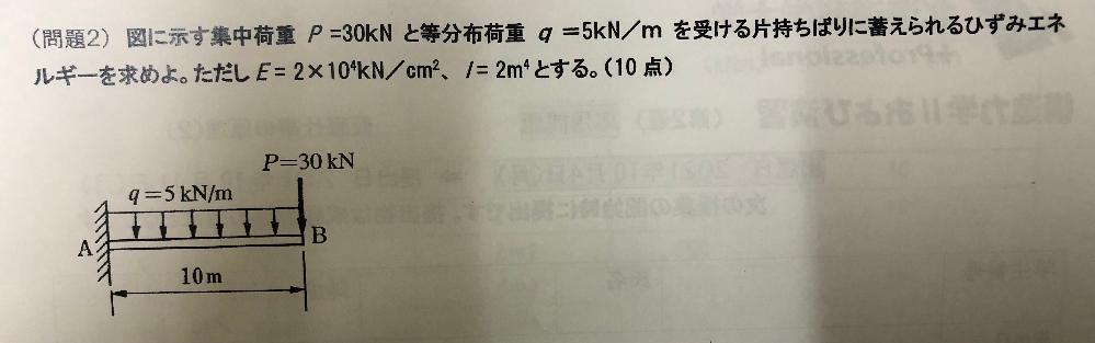構造力学に関する質問です。 写真の問題に対して、①曲げモーメント図を書きなさい。②ひずみエネルギーを求める計算式を書きなさい。③②で求めた計算式に数値を代入してひずみエネルギーを求めなさい。の3...