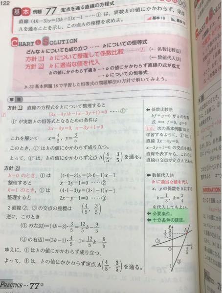 緑のマーク部、必要条件,十分条件がわかりません。数学の問題を解くとき必要条件,十分条件は気にした方がいいでしょうか?いまいちどちらがどっちかわかりません。