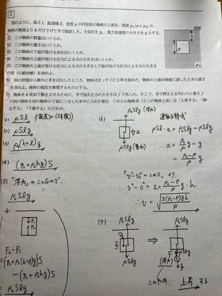 物理の問題で質問があります。 (3)の答えの導き方を教えて欲しいです。 あと、なぜ答えがP₀+ρ₀(h+r)gじゃないのかを教えて欲しいです。(なぜ大気圧が足されないのか) 解説が無くて困っています。