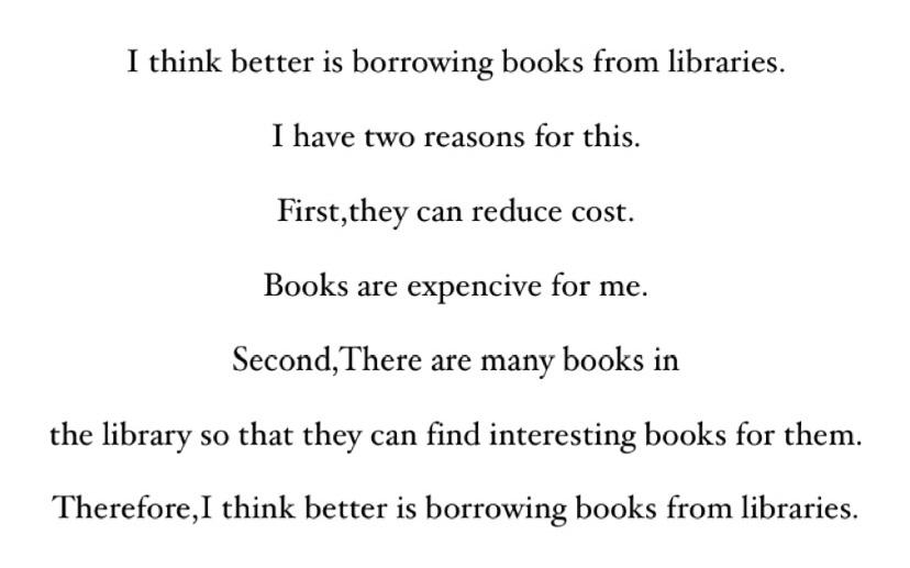 英検準2級のライティングの採点をお願いしたいです。 問題文 Which do you think is better for people, borrowing books from libra...