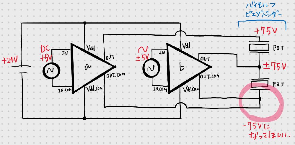 バイモルフ型ピエゾアクチュエータの駆動電圧について 大学の研究で、ピエゾドライバを用いてバイモルフ型振動子を駆動しようとしています。 バイポーラのドライバを用いて駆動するため、画像のような回路を...