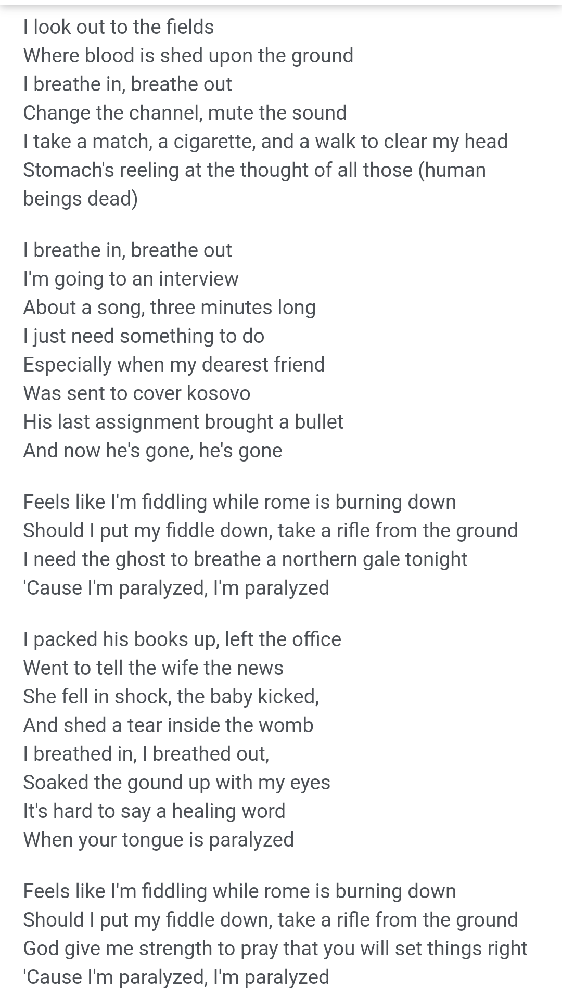 英語のわかる方、この歌詞は戦争について歌っていますか?