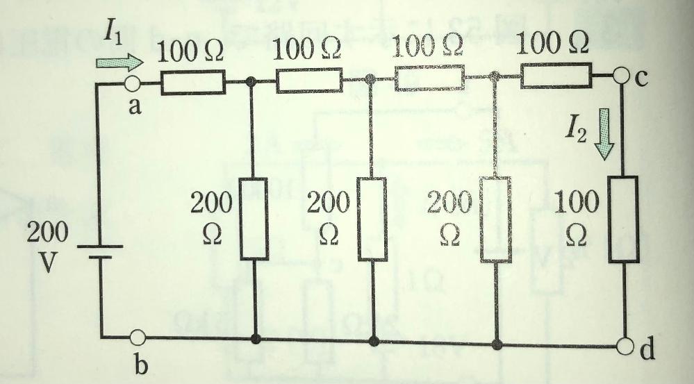 図に示す回路で、a-b間の合成抵抗を求めよ。また、電流I 1、I 2およびc-d間の電圧Vcdを求めよ。 という問題なのですが、I 2とVcdの求め方が分かりません。わかりやすい解き方をお願い致...