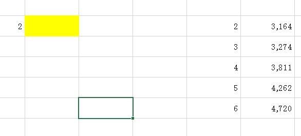 エクセルの関数式について教えてください 2と入れると、黄色の部分に3164と入るようにしたいです。 どういう式がいいのですか?