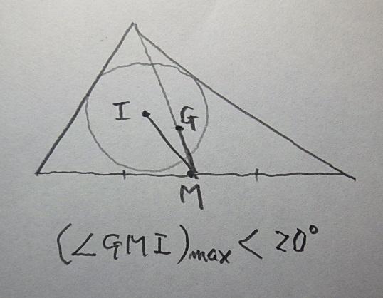 任意の三角形の一つの辺の中点をMとするとき、中点からの重心(G)と内心(I)間の角∠GMIの最大値は、20°未満であることを示してください。