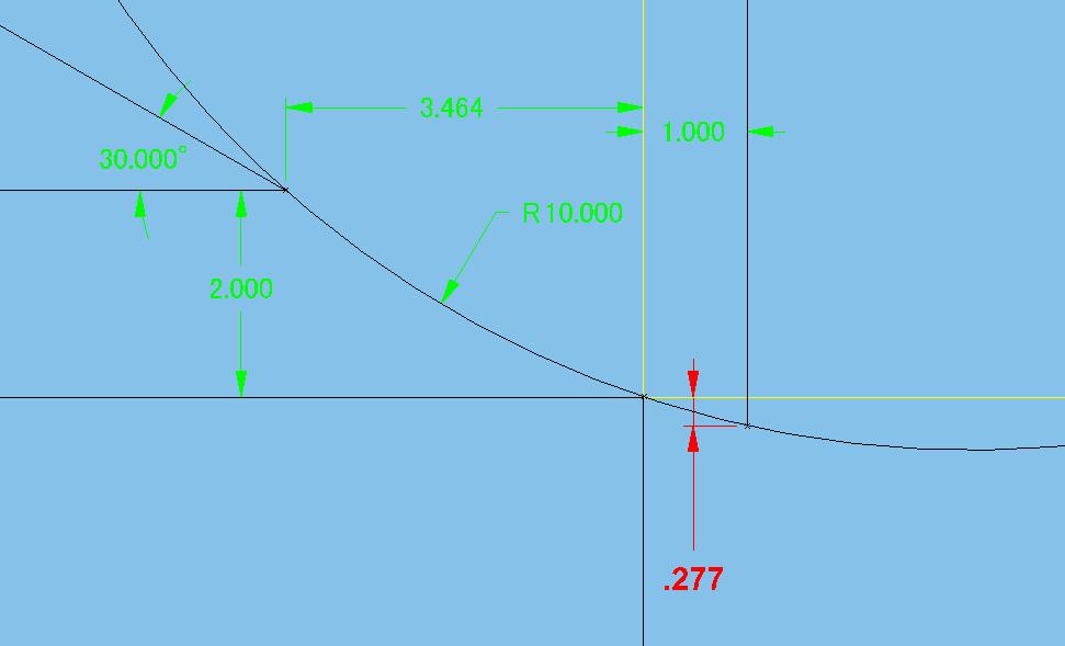 画像にある赤字(0.277)の計算方法についてお聞きします。 三角関数で計算しようとしましたが一辺が弧になっている為?です(;_;) ご教授お願い致します。