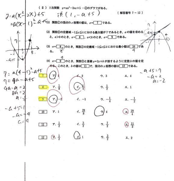 数1の二次関数の範囲です。⑶と⑷がわかりません。 よろしくお願いします!