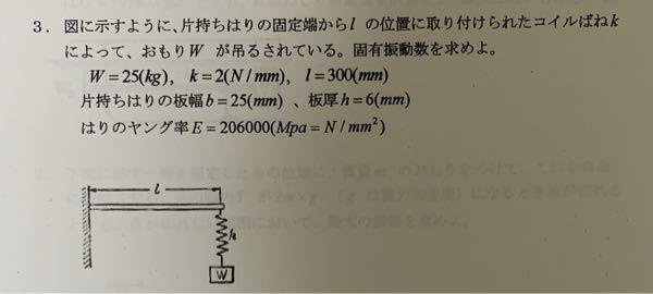 振動工学の問題なのですが、理解が足りず分からないので教えていただけるとありがたいです。