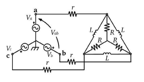 対称三相回路についての問題です. 負荷回路をY型等価回路で表し,単相等価回路をかけ. 解答よろしくお願いします!