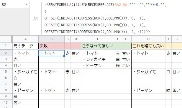 スプレッドシート 縦並びのデータを配列にしたい Googleスプレッドシートで、下記の様に改行で並んでいるデータを二次元配列にしたいです。 --- ・トマト 赤 甘い ・ジャガイモ 白 甘い ・ピーマン 緑 苦い --- 完成希望イメージを画像添付します。 先頭に来る項目名は、最初に「・」が付くなどの法則性があります。 元データの項目数が変わるので、ARRAYFORMULAの利用を考えています。 どのような式にすれば出来るでしょうか? よろしくお願いいたします。