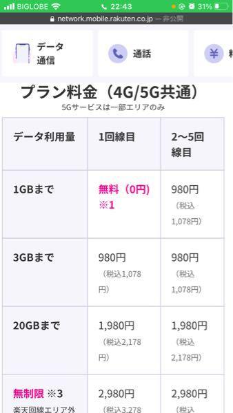 この1回線目とはどういう事ですか?楽天モバイルって、3g使ったら低速にはいるんじゃなくて、使った分だけ払う感じですか?