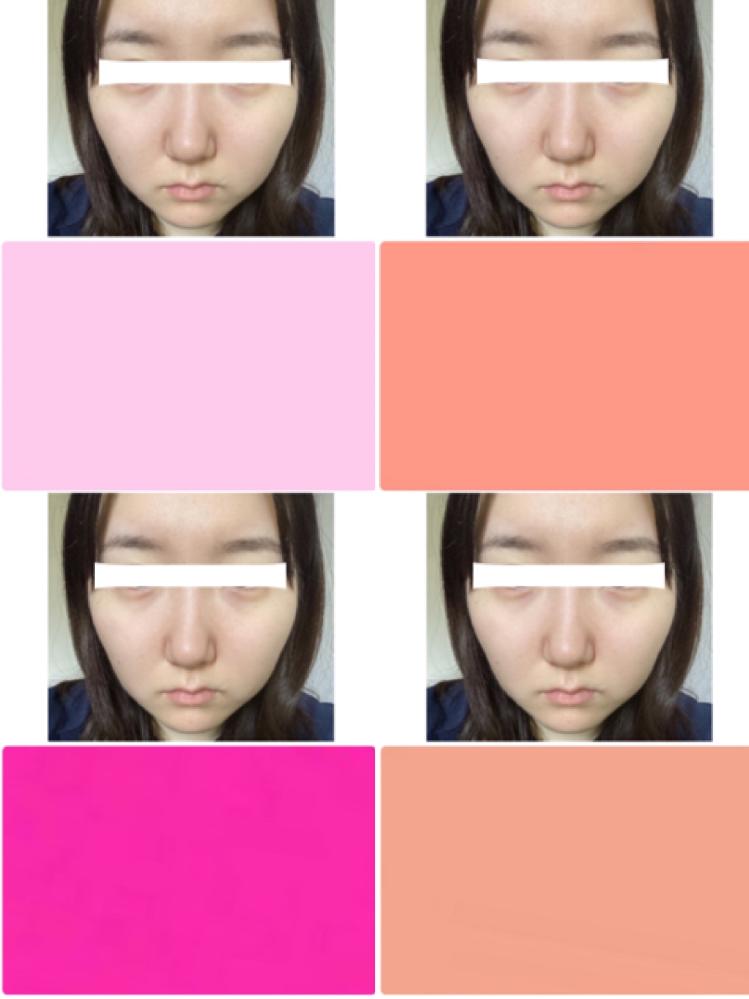パーソナルカラーについて 私のパーソナルカラーは何だと思いますか? 左上から時計回りに夏春秋冬のピンクだそうです。