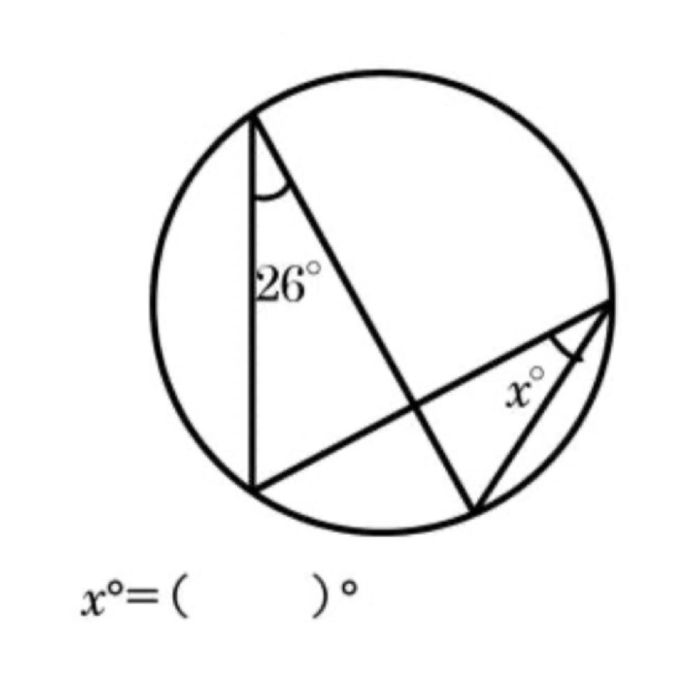 数学の問題です。次の図のxの値を求めてください。