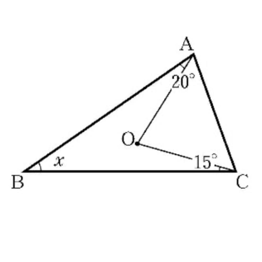 次の図で、△ABCの外心をOとするとき、∠OBAを次のように求めました。①に当てはまる言葉を漢字で、②にあてはまる数を数字で答えてください。 点Oは外心なので、OA=OB=外接円の①によって、△OBAはOA=OBの二等辺三角形であるので、∠OBA=②°となる。