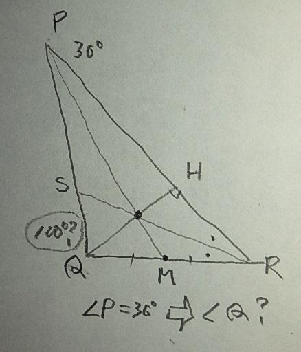 三角形PQRの頂角30°の頂点Pから対辺中点に引いた中間線と、頂点Qから対辺への垂直線および頂角Rの二等分線の三つの直線が一点で交わるとき、頂角Qは何度ですか。