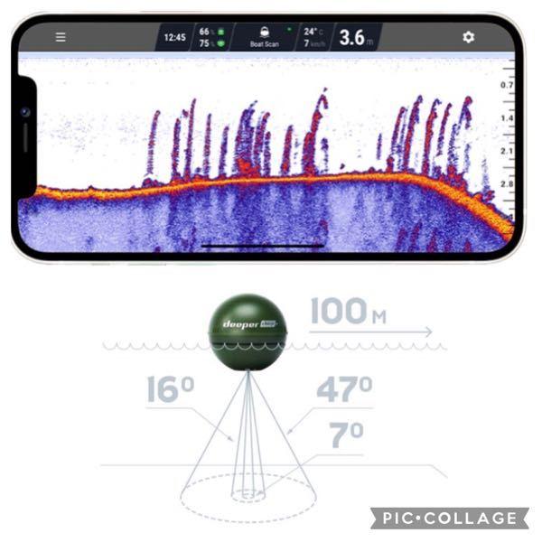 魚探に関して質問です。 deeperという有名な魚探はスマホでモニタリングできるようですが、スマホ画面に映っている映像は円錐状のビームのどの部分なんでしょうか?