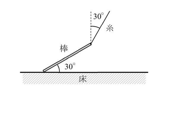 長さl ,質量 m の一様な細い棒の上端に糸を付け,床から少し引き上げたところ,図の ような状態でつり合った。このとき,棒と床のなす角は 30 度,糸と鉛直線のなす角も 30 度であった。重力加速度の大きさを g と して,糸の張力の大きさ T,棒に働く摩擦力の大 きさ F,棒が床から受ける垂直抗力の大きさ R を求めよ。 大学物理の課題です。理解出来ず困っております。どなたかわかる方教えて頂けないでしょうか。