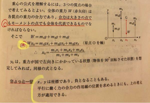 黄色い丸をつけている式ですが、原点Oが軸で、Wもm1,2,3も全て時計回りの回転なので、左辺+右辺=0にならないのでしょうか? また、できればちょっと一言のところで書いてある、平行に働く力の合力の作用線の位置を求める時にも上の考え方が適用できる の意味も教えてください