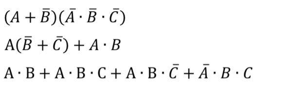 ディジタル回路の問題です。 この3つの論理式の簡略化の解法を教えて頂きたいです。