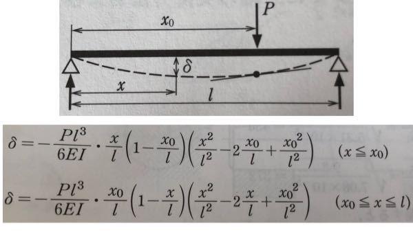 材料力学の問題です。画像上部の単純支持はりのたわみ式を求めると画像下部のように出てくるそうなのですが、途中式が分かりません。わかる方ご教授下さい。