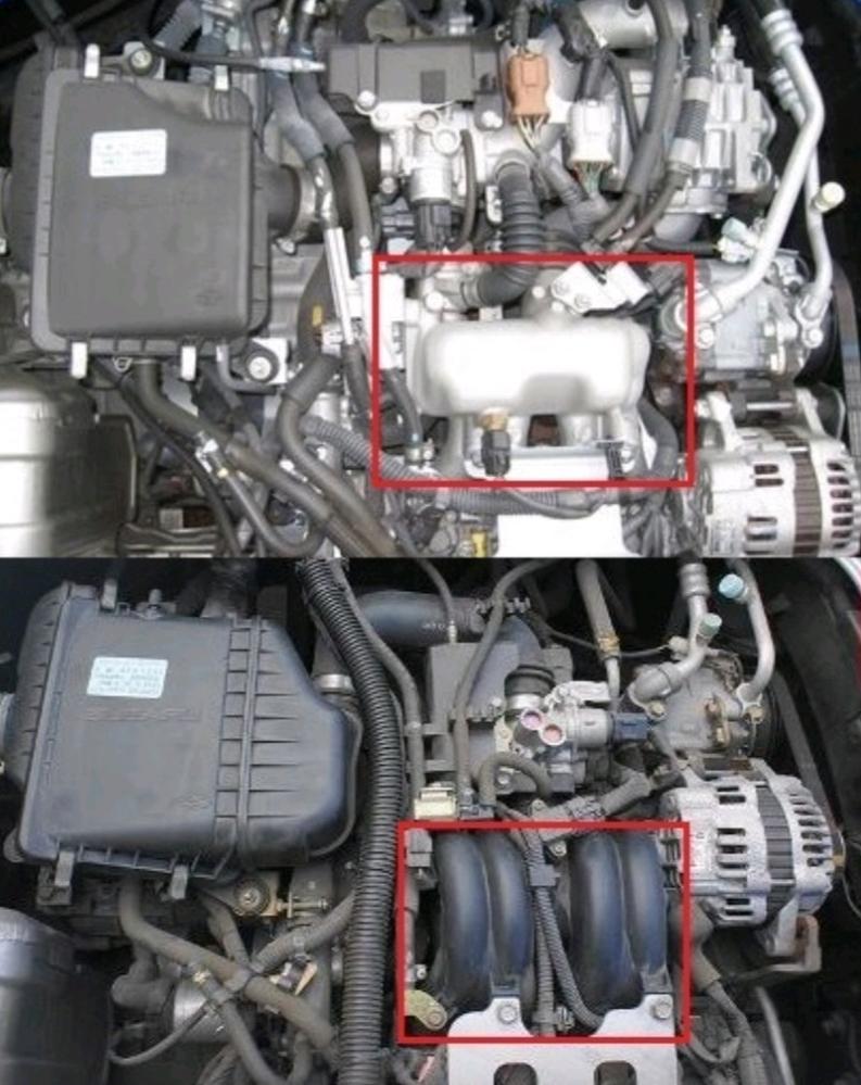 スバルサンバートラックのエンジンについて質問させて頂きます…。 2つのエンジンの写真を掲載させて頂きましたが、どちらのエンジンがスーパーチャージャー付か分かられる方いらっしゃいますか? お詳しい方、どうか宜しくお願い致します…m(_ _)m