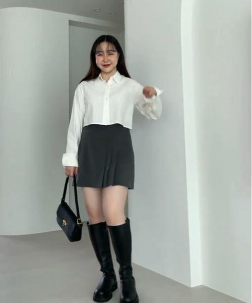 インスタで出てきた韓国のぽっちゃりさん向けお洋服のモデルさんなのですが、私の体型とすごく近くて;; 膝下のロングブーツにスカート(画像のような組み合わせ)をやりたくても細くないのに足出すなんてや...