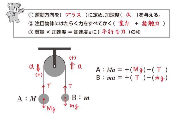 運動の方程式について質問です。 加速度の上下はどうやって決めているんですか?