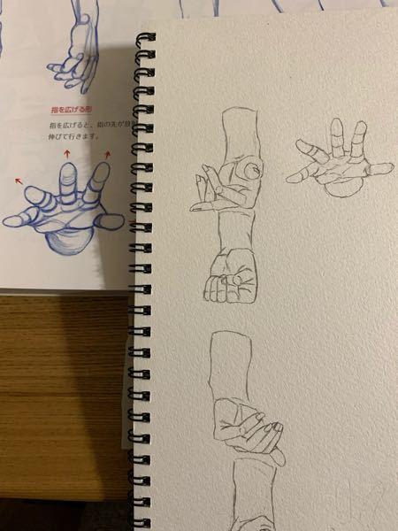 以下の模写なのですが、どこら辺がおかしいですか? お手本を見ながら練習してますが、なかなか上手に描けません。 手をこちらに突き出している絵について、です。 こういう角度の絵が苦手なのでコツを教えてください。