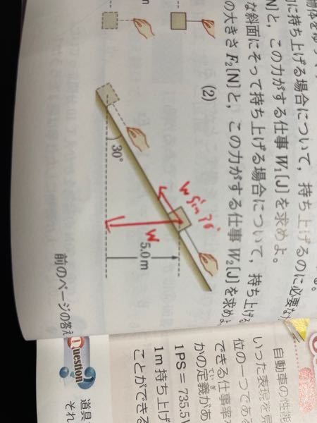 物理、三角比について 下の画像の問29の(2)なのですが、これ斜面に沿っている方の力がWsin30°になるのか分かりません。 Wtan30°では無いのですか? あまりちゃんとその部分を聞いておらず、教科書にも詳しく記載されていない為問題解説を見てもよくわからないという状況になっています。