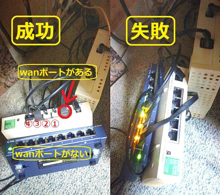 インターネット接続のLANポートで、 4ポートタイプは接続できますが、 8ポートタイプは接続できません。 両者の違いは「wanポートがある・ない」にしか見えません。 ---------------------------- どうすれば、8ポートタイプで接続が可能になりますか。 ご教示をお願いします。 (画像をクリックすると拡大します)