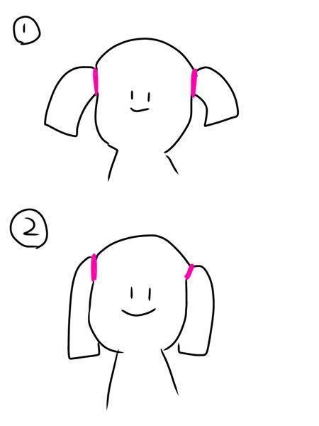 至急です! 明日文化祭でツインテールをしたいのですが、ストンと落ちるツインテールにする方法を教えて欲しいです。 画像の①じゃなくて②にしたいって事です。 髪の長さは肩下のミディアムです!