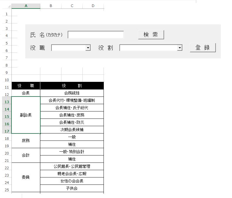 """Private Sub UserForm_Initialize() エクセルVBAに詳しい方、ご教示願います。 VBA初心者です。 現在コンボボックス1(役職)で選んだ項目に応じて、コンボボックス2(役割)の表示内容が変わるフォームを作りました。 .AddItem Worksheets(""""マスタ"""").Range(""""A12"""").Valueを選択したときだけ リストプロパティを設定できませんというエラーが出ます。 正しいコードを教えていただきたく思います。 With ComboBox1 .AddItem Worksheets(""""マスタ"""").Range(""""A12"""").Value .AddItem Worksheets(""""マスタ"""").Range(""""A13"""").Value .AddItem Worksheets(""""マスタ"""").Range(""""A18"""").Value .AddItem Worksheets(""""マスタ"""").Range(""""A20"""").Value .AddItem Worksheets(""""マスタ"""").Range(""""A22"""").Value End With End Sub Private Sub ComboBox1_Change() ComboBox2.Clear Select Case ComboBox1.Text Case Worksheets(""""マスタ"""").Range(""""A12"""") ComboBox2.List = Worksheets(""""マスタ"""").Range(""""B12"""").Value Case Worksheets(""""マスタ"""").Range(""""A13"""") ComboBox2.List = Worksheets(""""マスタ"""").Range(""""B13:B17"""").Value Case Worksheets(""""マスタ"""").Range(""""A18"""") ComboBox2.List = Worksheets(""""マスタ"""").Range(""""B18:B19"""").Value Case Worksheets(""""マスタ"""").Range(""""A20"""") ComboBox2.List = Worksheets(""""マスタ"""").Range(""""B20:B21"""").Value Case Worksheets(""""マスタ"""").Range(""""A22"""") ComboBox2.List = Worksheets(""""マスタ"""").Range(""""B22:B25"""").Value End Sub"""