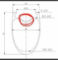 ICANのFL40というカーボンホイールのタイヤ交換についてです。このホイールのリム断面はこのような形になっているのですが赤丸のくぼみの部分にタイヤのビードが一部ハマってしまい空気を入れるとタイヤがボコボコし ます。タイヤを引っ張ってみてもダメです。どうすれば良いのでしょうか?