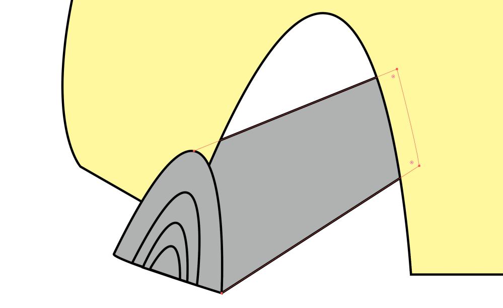Macでイラストレーターを勉強し始めた初心者です。 黄色で塗ったパーツ(かまど)と灰色パーツ(薪)を重ねて書いています。薪の右端はかまどより後ろに配置し、薪の左端はかまどより手前に配置したいのですが上手くいきません。 (全体的にかまどのほうが薪より手前に来てしまいます。) どうやってやればいいでしょうか??