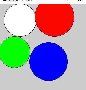 processingについての質問です。 下記のコマンドを利用して、指定したkeyを押すと指定した色の付いた円を出すというコマンドを作成しました。 実行してなんのキーも押さない場合、写真のように白い円が描かれてしまうのですが、描かれない方法はありますか?教えてください。ellipseの下にFILLやstrokeの色指定を置くと、Keyが押された時の条件が関係なくなってしまい、色が変わらなくなるのでよく分かりませんでした。 授業で習った範囲で作成しているものなので、余り違うコマンドを出したりはしないでできるものが良いです。場所の入れ替えでどうにかなりますか?教えてください。 float x; float y; void setup(){ size(300,300); } void draw(){ } void mousePressed(){ x=mouseX; y=mouseY; } void mouseDragged(){ float dist=dist(x,y,mouseX,mouseY); ellipse(x,y,2*dist,2*dist); } void keyPressed(){ if(key=='r'){ fill(255,0,0); } else if(key=='g'){ fill(#00ff00); } else if(key=='b'){ fill(0,0,255); } else if(key=='c'){ background(#cccccc); } }