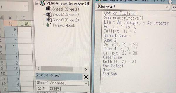 エクセルVBAです。 画像のように、次に対応する日数を表示するプログラムを作りたくてこのようにプログラムしたのですが、実行すると月が全て0になり日数が31になってしまいます。どこが間違ってるのか分からなかったので教えていただきたいです。
