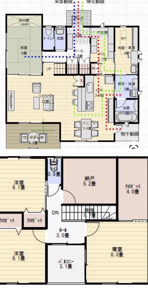 この間取りを1,500〜2,000万円で建てられる建築業者はありますか? 1階と2階の画像はそれぞれ違うところからとったので、階段の位置が合っていなかったりしますが、こんなような間取りを理想とし...