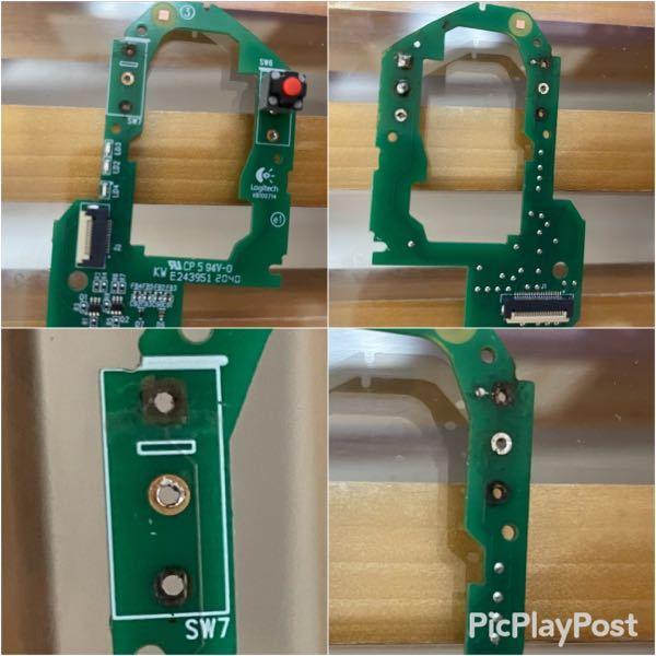 マウスのマイクロスイッチ交換(オムロン→ kailh)をしたところ片側のスイッチが反応しません。 もう一方のスイッチは正常に動作しています。 古いスイッチを取る際に基板にあるランド(3つの1番上)が剥がれてしまったことが原因だと思っていますが、画像の状態の場合、解決できる方法はありますでしょうか? 詳しい方、是非ご教授の程よろしくお願いします。