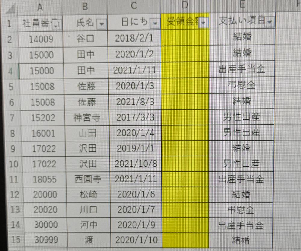 Excelの関数で質問です。 関数を組めなくて手入力していましたが 1500行ほどありギブアップです。どうか教えて下さい。 sheet1にお支払いした金額と表があります。 sheet2の黄色の部分に、sheet1を参照した それぞれの額を入力したのですが、 同じ社員番号で支払い項目が同じですが、日にちの違う人もいます。 (日にちの違いは間違えではありません。) 同じ社員番号で支払い項目が複数ある人もいます。 社員番号・日にち・支払い項目・を参照して sheet2に間違えなく金額を入れたいです。 どうか宜しくお願い致します!