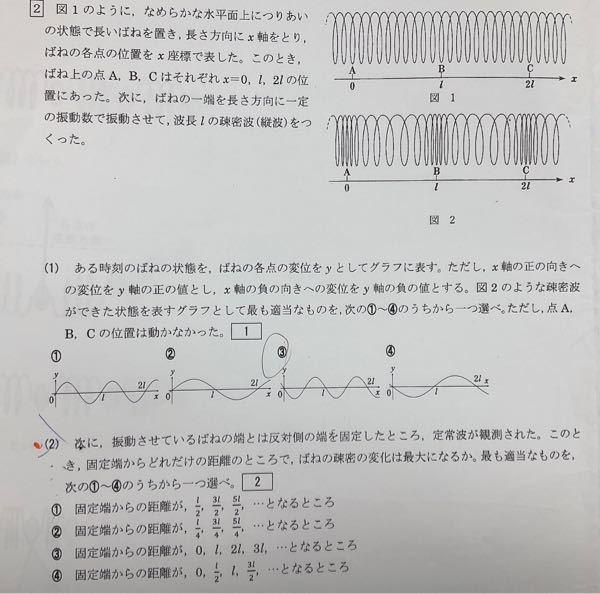 物理基礎 波 です。 ⑵の解説お願いします。