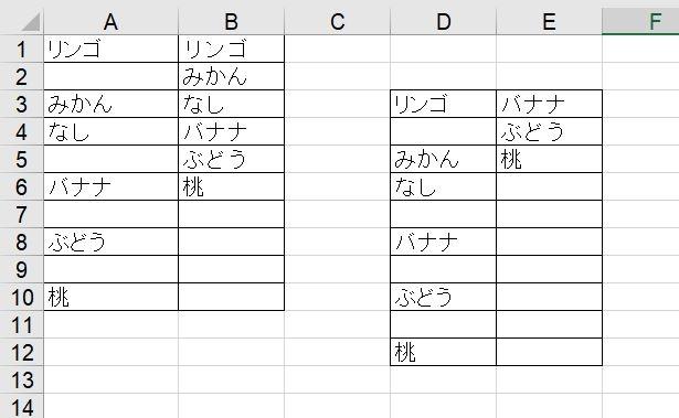 """エクセルで空白セルを詰めて抽出する方法について教えてください。Office2019です。 添付図のようにD3からD12のセルに果物の名前が飛び飛びに入っています。これを隣のE列に関数を使って空白を詰めた状態で表示したいのです。果物のリストがA1からA10にある時は、インターネットで調べて、B1に =IFERROR(INDEX($A$1:$A$10,SMALL(IF($A$1:$A$10<>"""""""",ROW($A$1:$A$10)),ROW(A1))),"""""""")を入力してうまくいったのですが、 リストをD3からD12に移すと、数式を =IFERROR(INDEX($D$3:$D$12,SMALL(IF($D$3:$D$12<>"""""""",ROW($D$3:$D$12)),ROW(D3))),"""""""")に変えても、添付した図のようにバナナ以下しか表示されず、またROW(D3)をROW(D1)にしてもうまくゆきません。 どうぞご教示くださいますようお願いします。"""