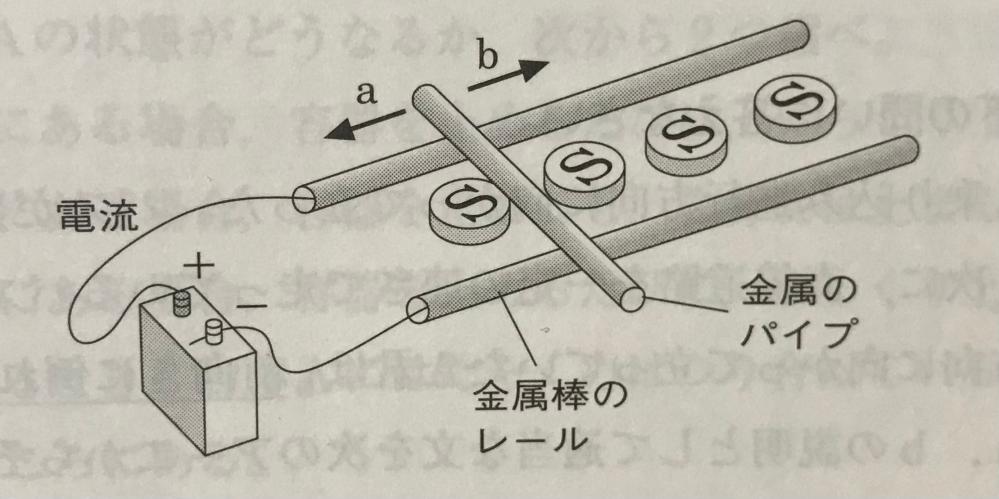 写真のように、金属棒を使ってレールを作り、その間にS極を上にして並べた。金属棒のレールに電流を流したところ、金属のパイプが動き出した。 という問題で、aかbどちらに動いたか。 とあり、答えはbなのですが、磁界の向きや、電流の向きがイマイチわかりません。解説をお願いしたいです。