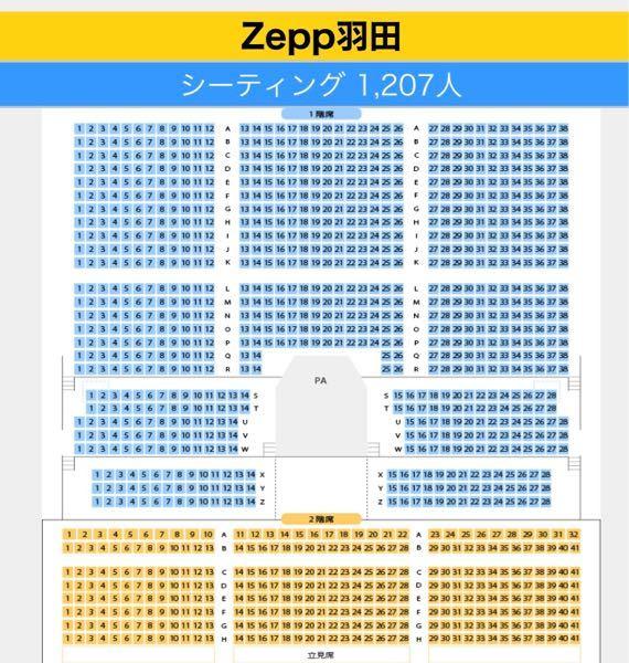 Zepp羽田について質問です。 2階席の最前列は、1階席の何列目ほどになるのでしょうか? 2階席が1階に重なるようになっているのか、添付した写真のように1階の最後列より後ろの位置に2階席がつくられているのか… ご存知の方がいらっしゃいましたら教えてください。