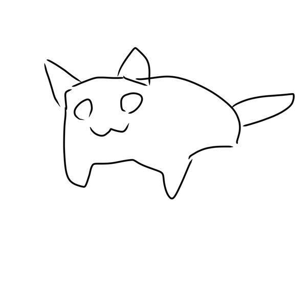 質問失礼します。この様な猫をゲームセンターで見かけました。絵柄はねこあつめのような感じです。ポーズもこんな感じでした。目は小さく、口は分かりません。しっぽもありました。色は黒・白と茶色?が混ざっ...