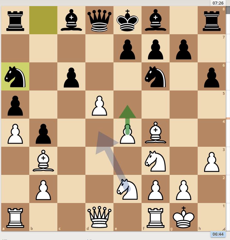 白ポーンe5と指しましたが、ソフトで解析では白Nd4左(どう表記するのが正解?)のようです。どう考えればよろしいでしょうか? 宜しくご教授ください<(_ _)> ※ヒューマンスキルの低い方の回答はお断りしております #チェス #チェスjp #chess