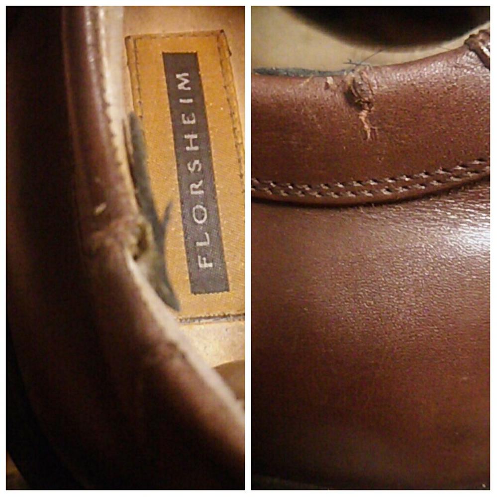 フローシャイムのレザーシューズなんですが履き口に革の乾燥のせいか破れ?千切れ?が起きてしまいましたデリケートクリームやラナパーで手入れした後内側の破れに革のハギレを接着してますが断面はカサカサと...