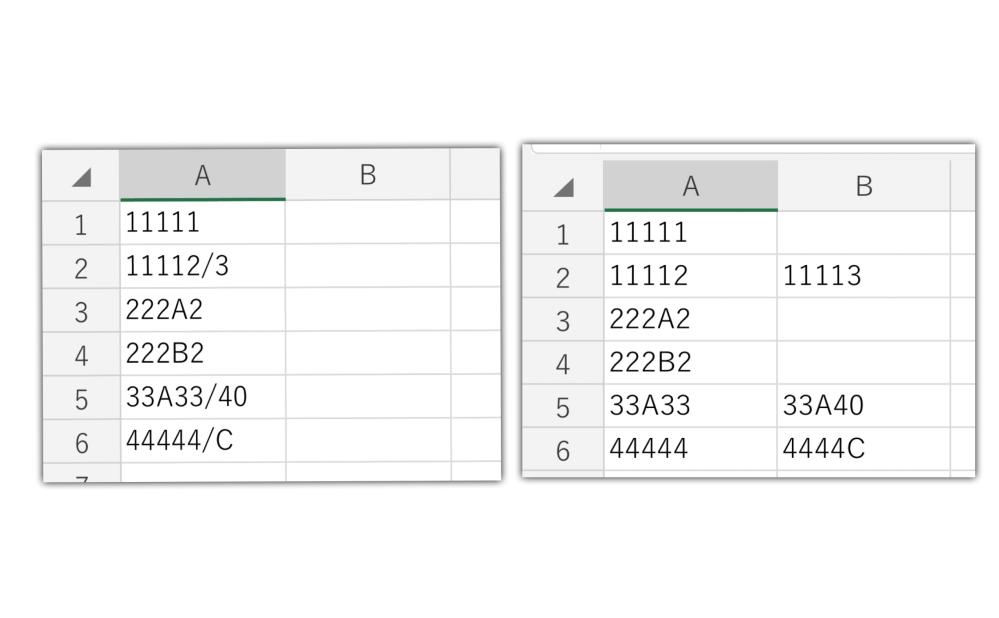 """画像ように、基本は文字列5桁が並んでいますが、中には""""/""""があるセルと無いセルが存在します。 例えば… A2セルに""""/""""がある場合 """"/""""より右側に「1文字」ある """"/""""より左側の数値の「下1桁」を右側の数値に変え、B2セルに表示 A2セルには""""/""""より左側の5桁だけ残して表示 同様に右が「2文字」だったら左の「下2桁」を変更 行数は都度かわります。 説明が下手ですみません(泣) このようにしたいのですが、 VBAで実行することは可能でしょうか? どなたかご教授いただけませんでしょうか。 VBAは独学で勉強し始めたばかりで、ネットを見たりしているのですが、なかなか思うような情報がなく手詰まってしまいました。 コードを教えていただけると嬉しいです! 何卒よろしくお願いいたします。"""