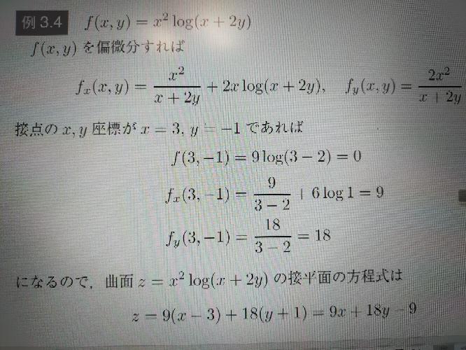 偏微分の接平面の方程式の問題ですが、画像4行目のx, yは一体どこから出てきたのでしょうか?その求め方を教えてほしいです。 宜しくお願い致します。