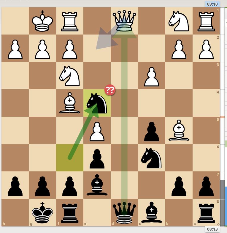 ここでナイト飛びはよくなかったようです。 また、先にクイーンの交換は相手のルークが展開するので避けました。このクイーン交換はどういう効果があるのでしょうか?宜しくご教授ください<(_ _)> ※ヒューマンスキルの低い方の回答はお断りしております。 #チェス #チェスjp #chess